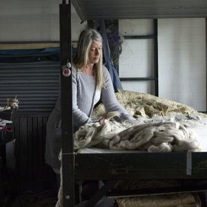 Felt-maker Paula Leen handling felt fabrics