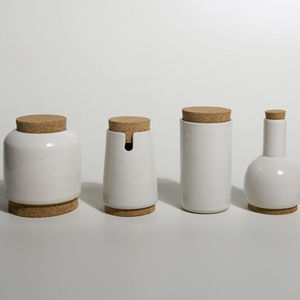 Ceramic and cork canisters by Dokter and Misses
