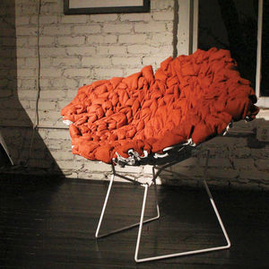Red Felt Cocoon Chair by Felicia F. Dean