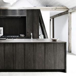 modern kitchen with black cabinets