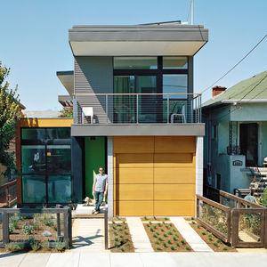 Modern prefab home with drought-tolerant garden