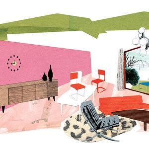 Modern colorful living room illustration