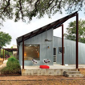 Porch renovation with galvanized metal cladding