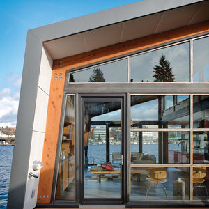 modern floating home with cedar cladding in seattle washington