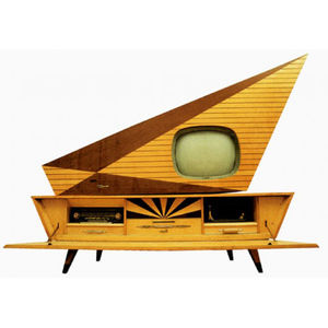 <strong>The Kuba Komet Television </strong><br /> Produced in Germany between 1957 and 1961, the Kuba Komet television is an archetype of modernism. The palm-and-maple behemoth with a shiny polyester coating was a self-contained entertainment center that