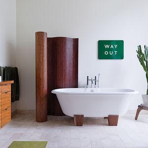 typographic art accents in bathroom