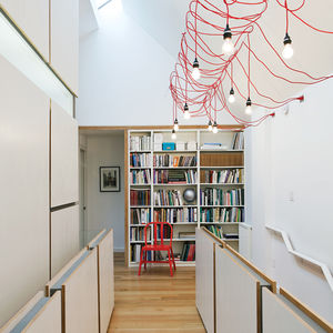 Hallway interior with red cord ceiling light