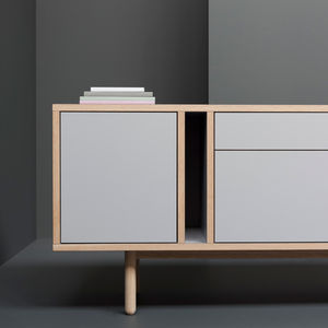 modern sideboard with gray drawer fronts by Derek Welsh