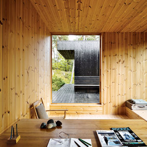compact cabin interior office