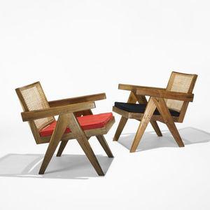 pierre jeanneret pair of armchairs punjab university wright