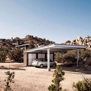 blue sky prototype house exterior carport