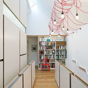 lighting up toronto tudor second story hallway open office library hanging fixtures made from ikea extension cords