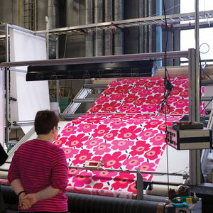 helsinki ink process inspector checks pieni unikko fabric