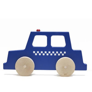 a wood police car with wheels