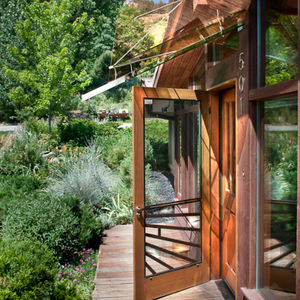 a glass entryway in Boulder, Colorado