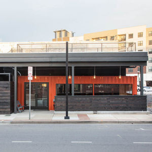 404 shipping container hotel restaurant exterior