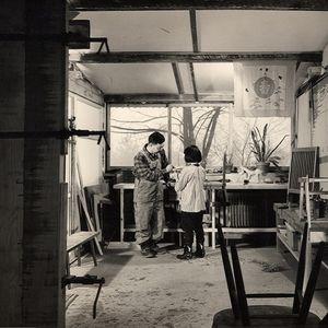 george and mira nakashima in the studio