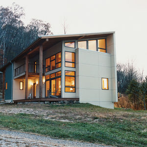 the galvanized corrugated facade of a home in rural Wisconsin