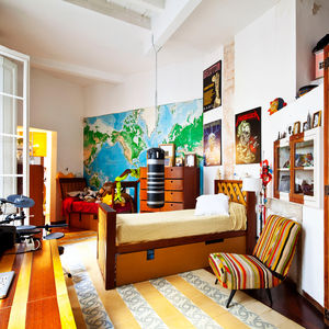 a colorful children's bedroom in a renovated Barcelona apartment