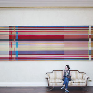 large bright landscape textile by wallace sewell