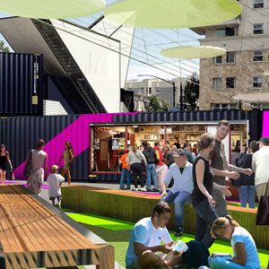 urban pop-up park in southern california, made from shipping containers
