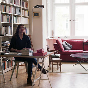 Berlin apartment with a tall library