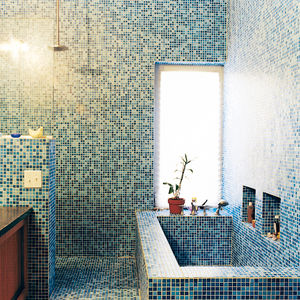 Lee residence bathroom with blue mosaic tiles.