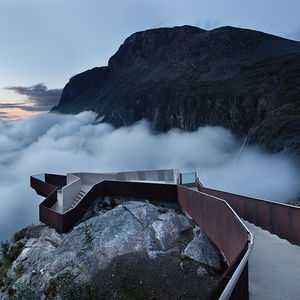Modern footpath look-out point in the mountains of Norway