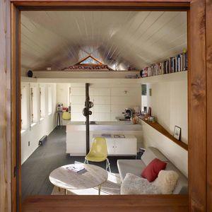 View of garage remodel through window.