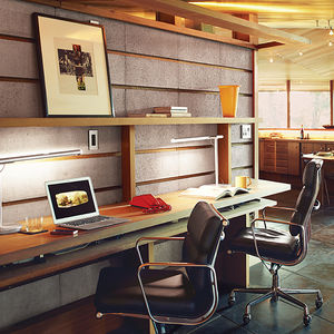 under the radar renovation napa office built in desk concrete redwood