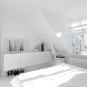 Monochromatic Master Bedroom in Copenhagen Townhouse