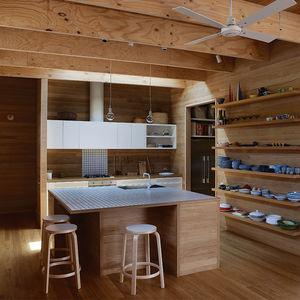 Australian tallowwood kitchen with Artek stools and Muuto lighting