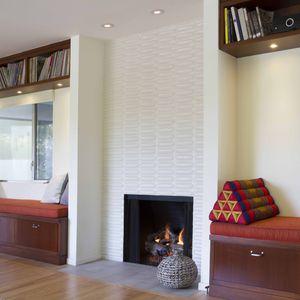 Vidal renovation living room fireplace.