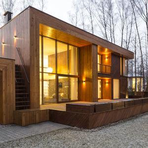 birch tree house geometric form exterior