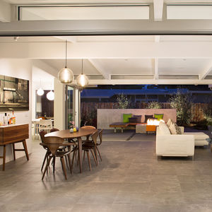 klopf eichler glass walls living dining area