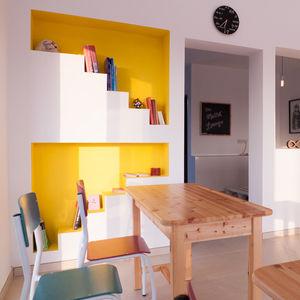 math lounge cyprus yellow wall wood desks