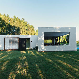 starter kit prefab pool guesthouse sliding glass door outdoor shower covered loggia