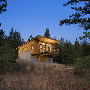 pine forest cabin exterior