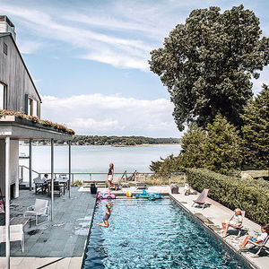 head of its class connecticut renovation summer home swimming pool outdoor fireplace deck pathways ipe bluestone
