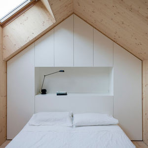 compact karset house wood gabled bed loft  0