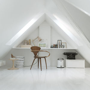 monochromatic copenhagen vaulted loft room