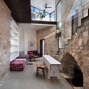 israel stone house courtyard arch