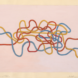 Anni Albers, Knot 2, 1947, gouache on paper, 17 x 21 1/8 inches.