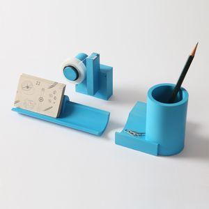 Blue concrete desk organization set