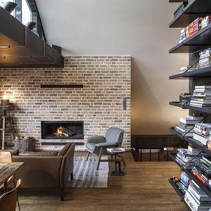 Cozy loft with built-in bookshelves in Bulgaria