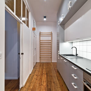 Compact kitchen with IKEA cabinets and appliances.