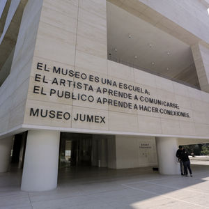Museo Jumex exterior, with site-specific artwork by Luis Camnitzer