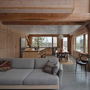 eagle pond house new hampshire white pine slats living space