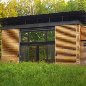 White oak facade of 325 square-foot Wisconsin Cabin