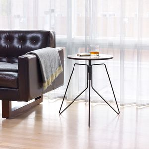 Adjustable height side table with walnut screw top